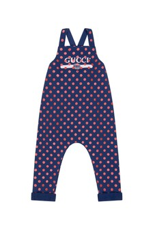 GUCCI Kids Baby Girls Navy Cotton Polka Dots Vintage Logo Dungarees