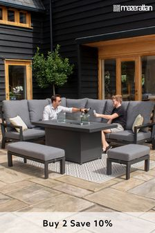 Manhattan Reclining Corner Fire Pit Dining Set By Maze Rattan