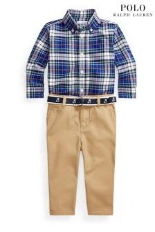 Ralph Lauren Blue Check Shirt And Chino Set
