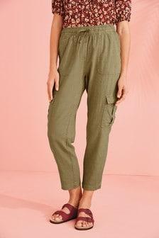 Linen Blend Utility Trousers