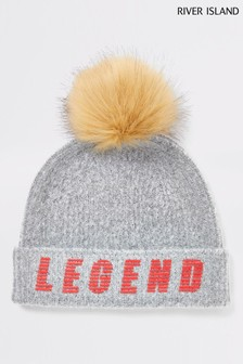 River Island Grey Marl Legend Beanie