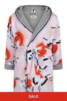 Molo Girls Pink Organic Cotton Sunrise Cranes Bathrobe