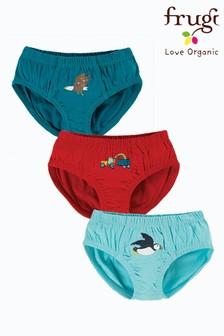 Frugi Organic Cotton Red, Teal and Blue 3 Pack Briefs