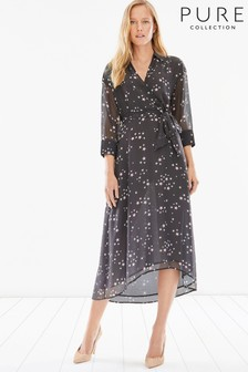 Pure Collection Black Printed Collared Dress