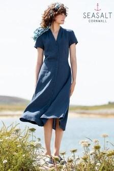Seasalt Petite Grey Carved Wood Dress