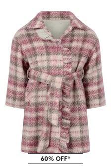 Monnalisa Girls Pink Check Wool Coat