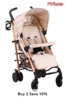 My Babiie Believe MB51 Rose Gold and Pink Leopard Stroller