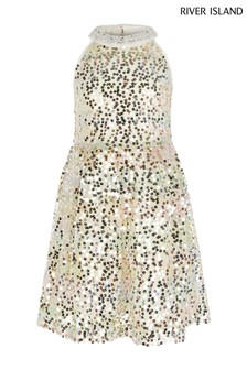 River Island Metallic Rainbow Sequin Prom Dress
