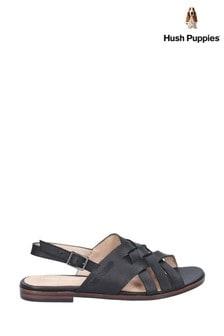 Hush Puppies Black Riley Buckle Strap Sandals