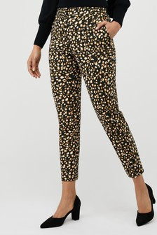 Monsoon Black Camillia Animal Print Slim Leg Trousers