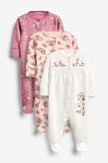 3 Pack Floral Sleepsuits (0mths-2yrs)