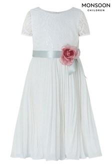 Monsoon Ivory Layla Sequin Lace Pleat Dress