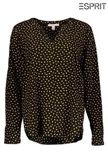 Esprit Black Woven Long Sleeved Blouse