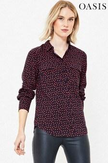 Oasis Blue Heart Print Shirt