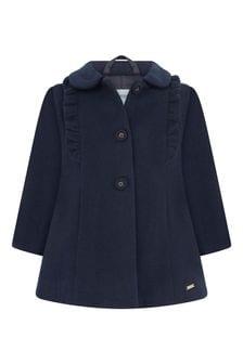 Baby Girls Navy Frilly Trim Coat