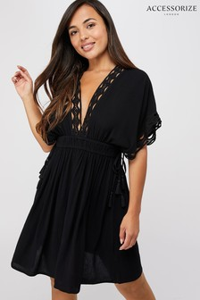 Accessorize Black Geo Lace Kaftan