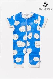 Noé & Zoë Blue Clouds Footless Babygrow