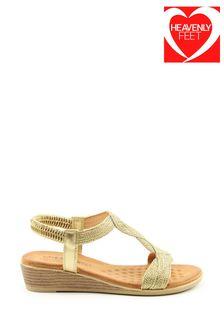 Heavenly Feet Marisol Ladies Gold Low Wedge Sandals
