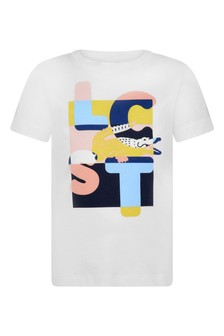 Boys Cotton White Logo T-Shirt