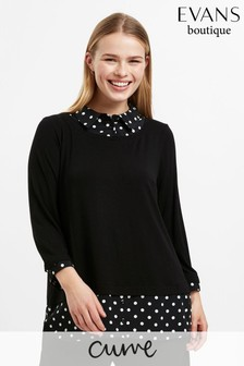 Evans Curve Black Polka Dot 2 In 1 Top