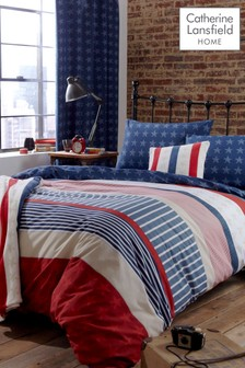 Stars and Stripes Easy Care Duvet Cover and Pillowcase Set by Catherine Lansfield