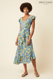 Great Plains Blue Sorrento Lemon V-Neck Dress