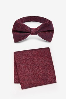 Patterned Bow Tie And Pocket Square Set