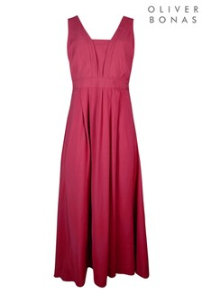 Oliver Bonas Red Lupin Panel Midi Dress