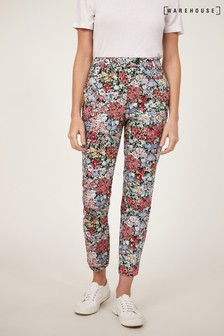Warehouse Black Floral Compact Cotton Trousers