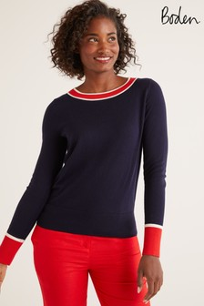 Boden Blue Norwich Button Back Jumper