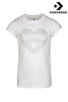 Converse Junior Sequin Heart T-Shirt