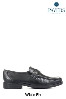 Pavers Black Men's Wider Fit Leather Loafers