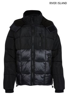 River Island Black Square Quilt Blocked Puffer Jacket