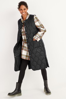 100% Recycled Polyester Long Length Quilted Gilet