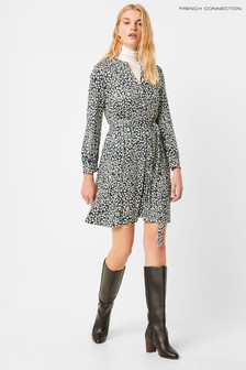 French Connection Green Vasha Meadow Jersey Shirt Dress