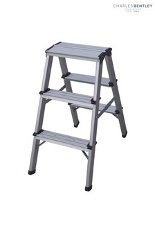 Foldable Compact Lightweight Aluminium 3 Step Ladder By Charles Bentley