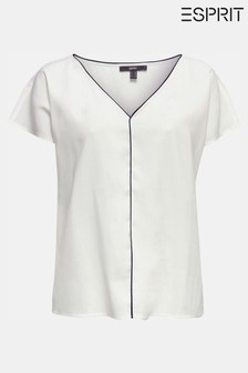 Esprit Natural Short Sleeve Blouse With Black Piping Detail And V-Neck
