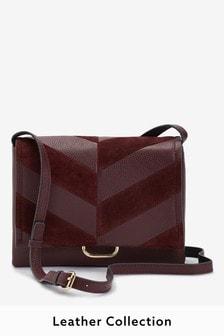 Leather Splice Across Body Bag