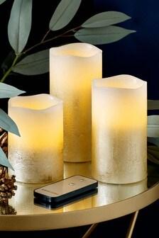 Set of 3 Golden Amber LED Candles