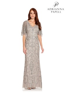 Adrianna Papell Grey Beaded Mermaid Gown