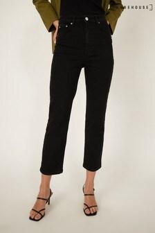 Warehouse Black Slim Cut Cropped Jeans