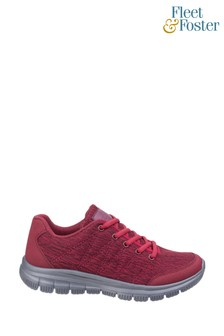 Fleet & Foster Red Elanor Lace-Up Trainers