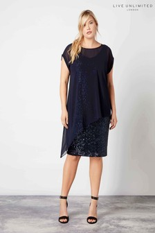 Live Unlimited Navy Overlayer Sequin Dress