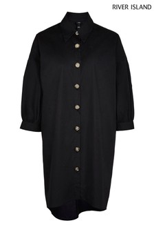 River Island Black High Low Oversized Shirt Dress