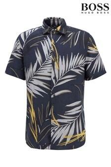 BOSS Blue Rash Palm Print Shirt