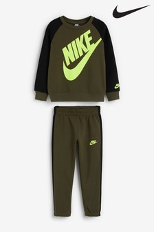 Nike Little Kids Khaki Futura Crew And Joggers Set