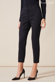 Phase Eight Blue Tala Leaf Jacquard Trousers