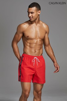 Calvin Klein Red Logo Tape Medium Drawstring Trunks