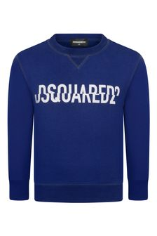 Boys Blue Cotton Logo Sweater