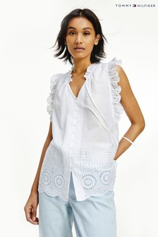 Tommy Hilfiger White Ruth Cutwork Top